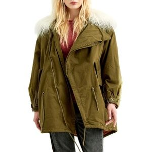 NWT Boundless North Faux Fur Army Green Jacket